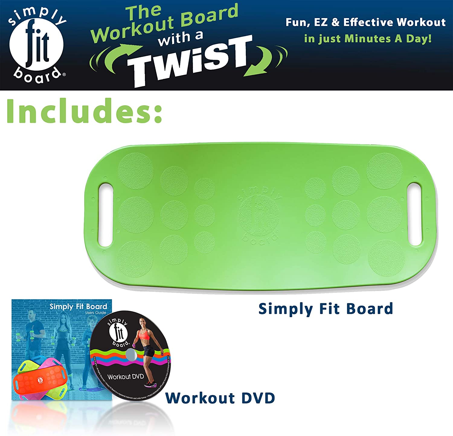 Simply Fit 30043 The Abs Legs Core Workout Balance Board (Green) : Sports & Outdoors