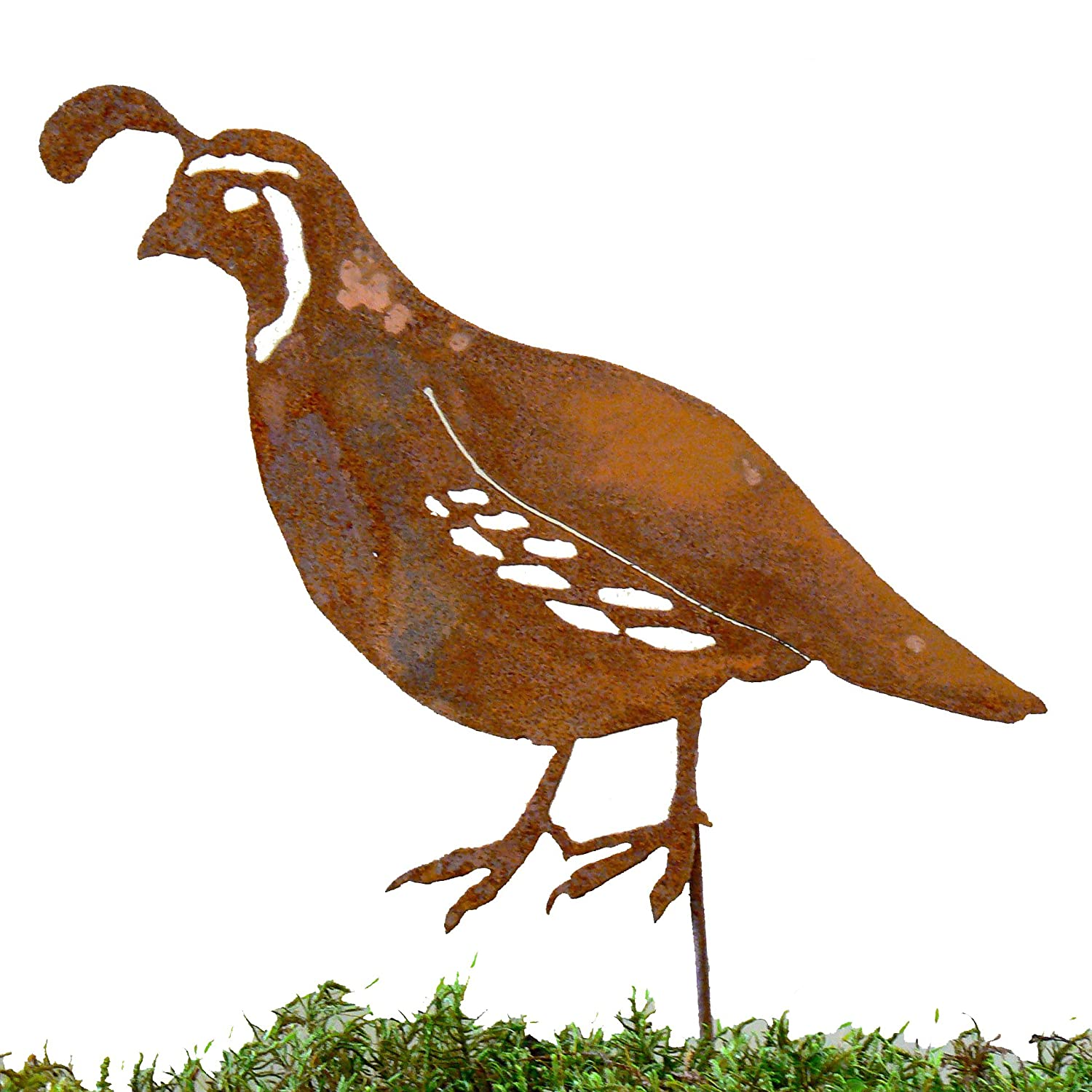 Elegant Garden Design Male Quail Stake, Steel Silhouette with Rusty Patina