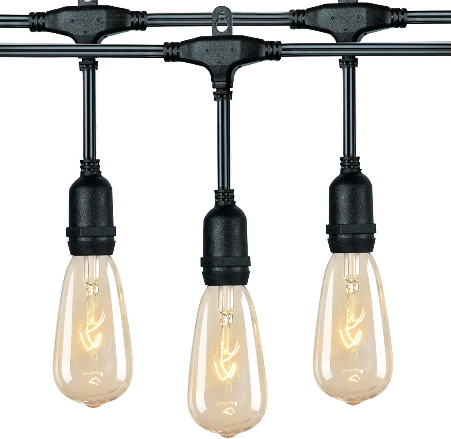 36 Ft. Outdoor Patio String Lights with 24 E17 Hanging Sockets & 7 Watt ST40 Clear Bulbs, Weatherproof Vintage Edison Light for Garden Porches Bistro Backyard Market Cafe Wedding Party Decor, Black