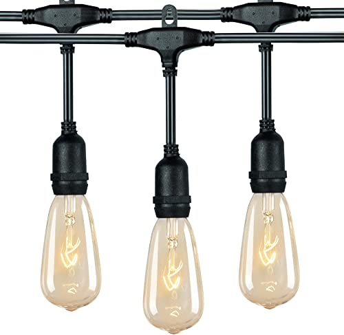 18Ft Outdoor Weatherproof String Lights with 12 Hanging Sockets 7Watt ST40 Clear Bulbs, UL Listed E17 Base Vintage Edison Light String for Patio, Porches, Bistro, Backyard, Black Wire