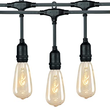 18Ft Outdoor Weatherproof String Lights with 12 Hanging Sockets & 7Watt ST40 Clear Bulbs, UL Listed E17 Base Vintage Edison Light String for Patio, Porches, Bistro, Backyard, Black Wire