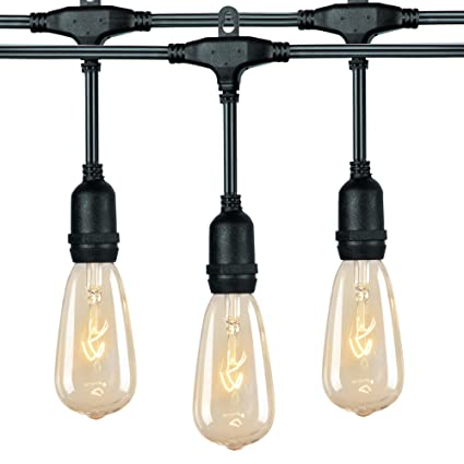 18Ft Outdoor Weatherproof String Lights with 12 Hanging Sockets & 7Watt  ST40 Clear Bulbs, UL Listed E17 Base Vintage Edison Light String for Patio,