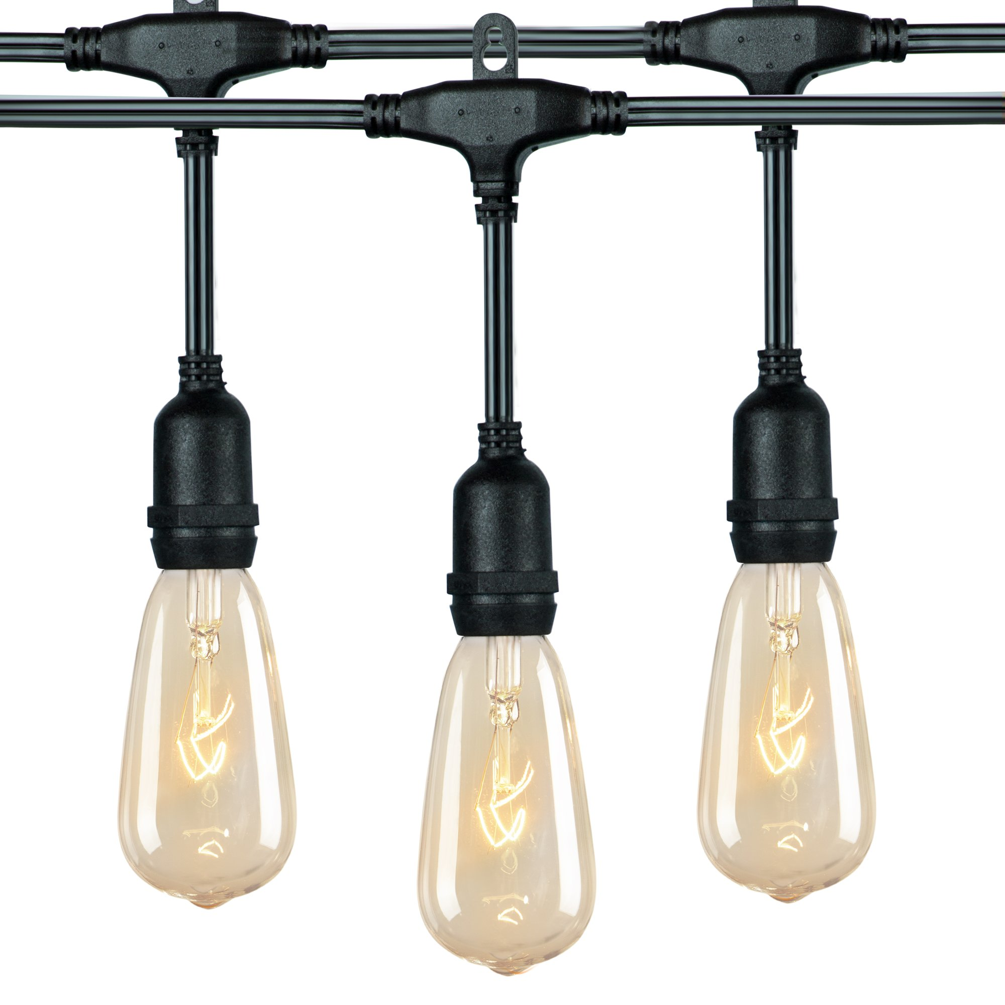 36 Ft. Outdoor Patio String Lights with 24 x E26 Hanging Sockets & 7 Watt ST40 Clear Bulbs, Weatherproof Vintage Edison Light for Garden, Porches, Bistro, Backyard, Market, Café and Party Décor, Black