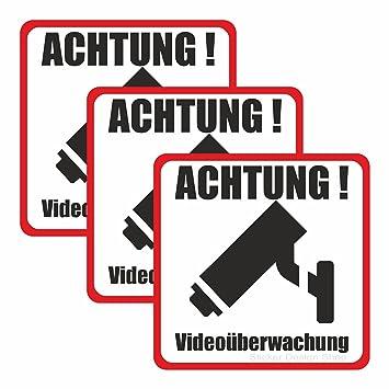 3er Set Je 9cm Achtung Videouberwachung Hinweis Schild Aufkleber