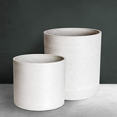 """10""""H & 7""""H Indoor/Outdoor Modern Plant Pot Set with Drainage Hole –White Planter for House Plants, Flowers and Herbs - Made of Eco-Friendly Stone/Wood Powder & Rec Plastic for Mid Century Plant Stands : Garden & Outdoor"""