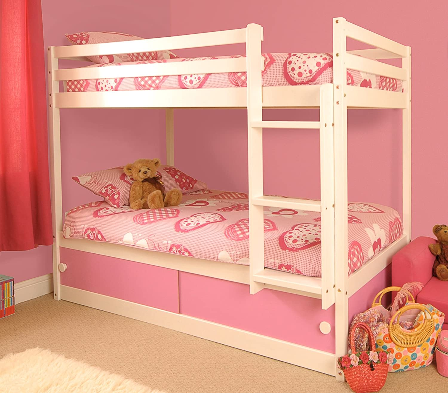 Girls Slide Storage White Wooden Bunk Bed With Pink Sliding Doors Amazoncouk Kitchen Home