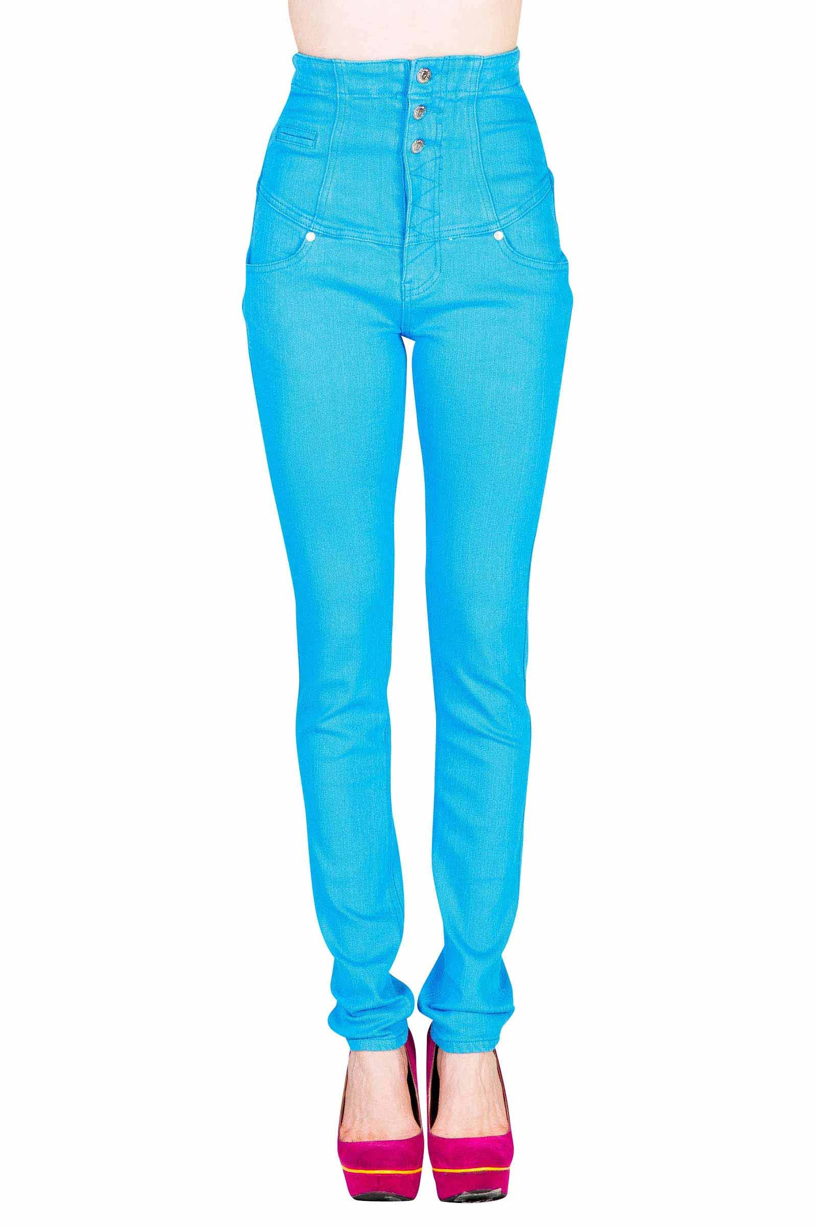 VIRGIN ONLY Women's Basic 5-Pocket Style Color Skinny Jeans (Turquoise, Size 9)