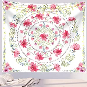 Floral Tapestry Medallion Mandala Tapestry Sketched Flower Tapestry Bohemian Mandala Wall Decor Cute Tapestry for Bedroom Teen Girl 51.2 x 59.1