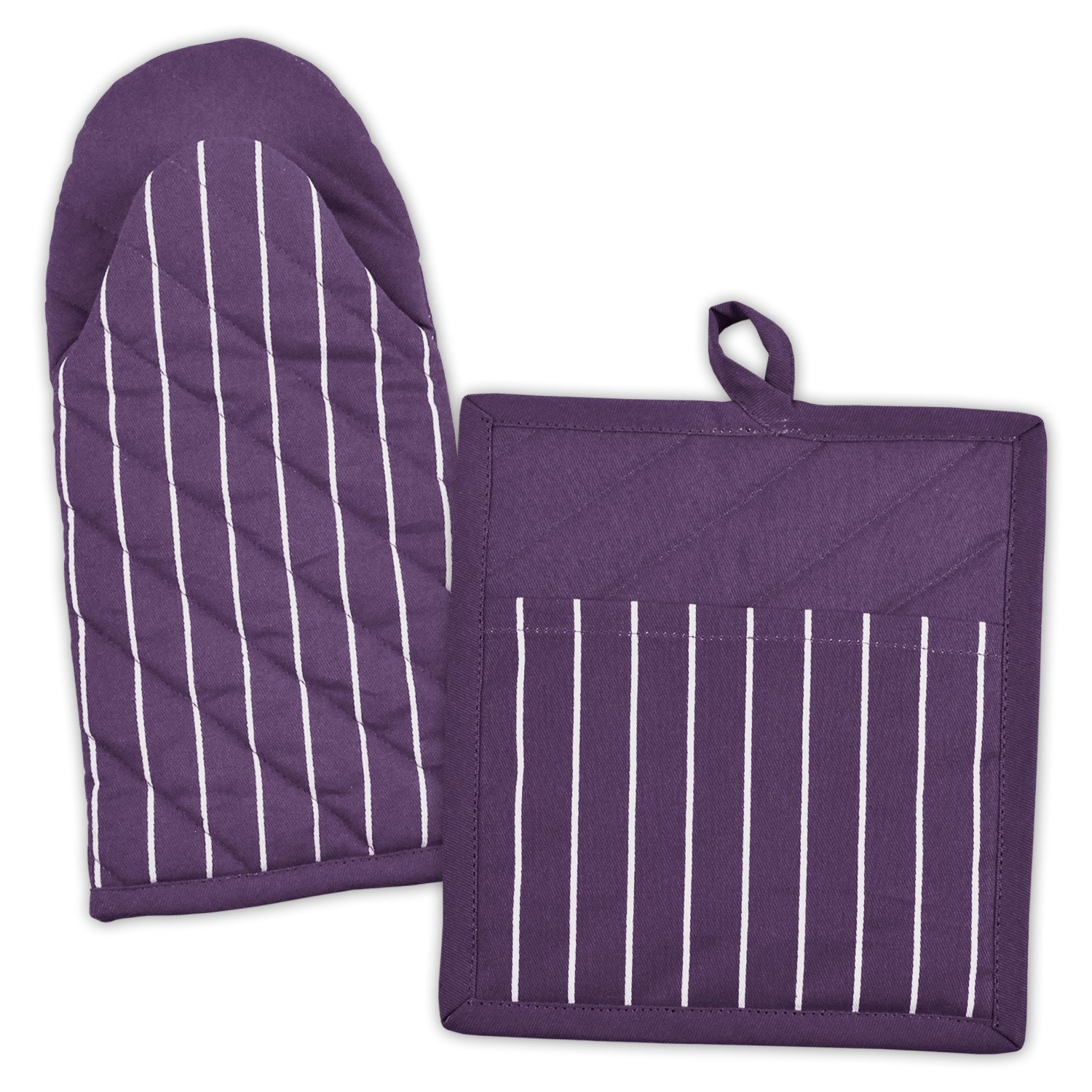 DII 100% Cotton, Machine Washable, Everyday Kitchen Basic, Stripe Commercial Grade, Restaurant Quality Chef Oven Mitt and Pot Holder Gift Set, Eggplant