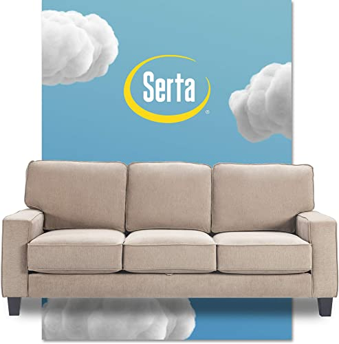 Serta Palisades Sofas with Storage Modern Design, Track Arms, Foam-Filled Cushions, Easy-to-Clean Fabric Upholstery, 77 , Soft Beige