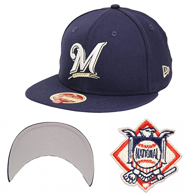 brand new c472f cd428 New Era 59Fifty Wool Standard Milwaukee Brewers Navy Fitted Cap (7 )