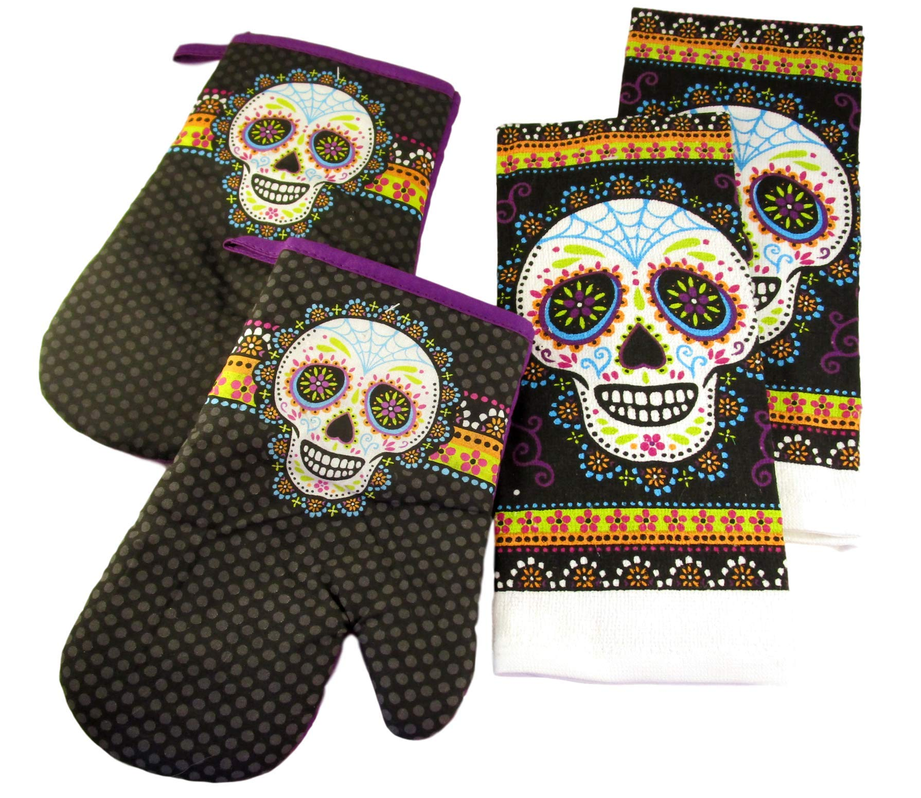Halloween Kitchen Towels and Oven Mitts - Bundle of 4 Items: 2 Dish Towels and 2 Oven Mitts (Sugar Skulls with Polka Dots)
