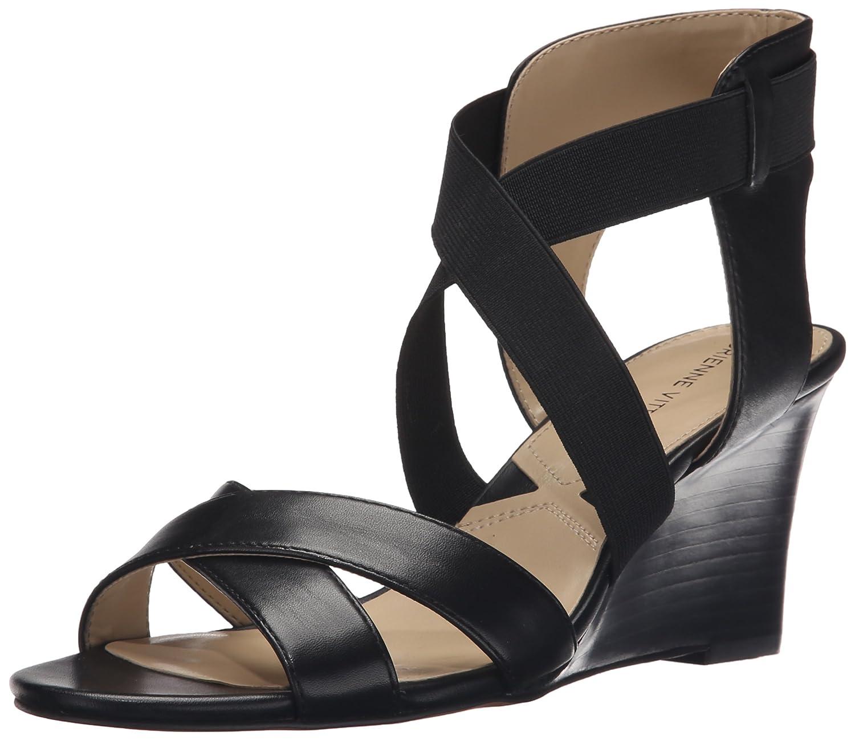 ADRIENNE VITTADINI Footwear Women's Raenie Wedge Sandal B019NYFWSI 5.5 B(M) US Black