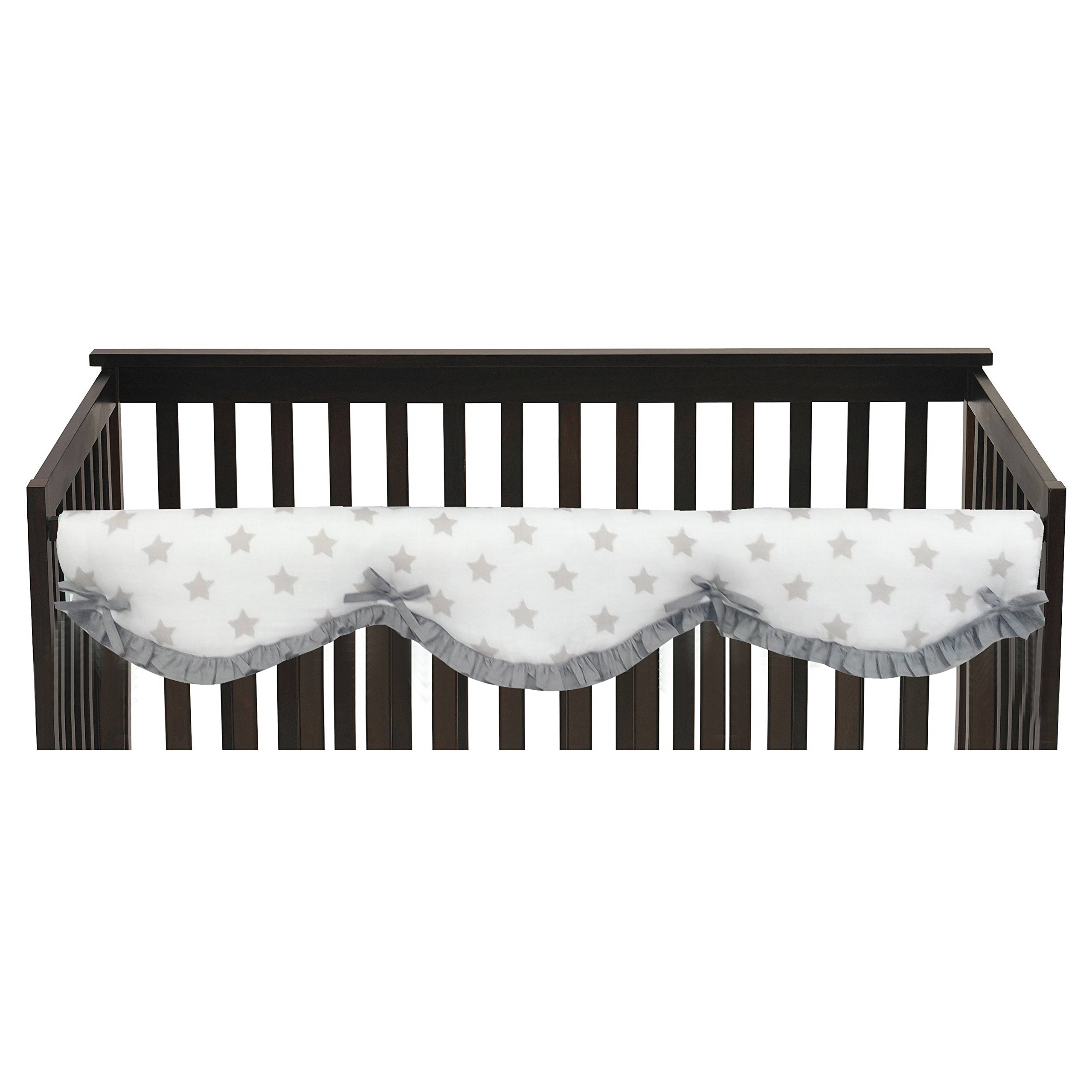 Bacati Stars 100% Cotton Crib Rail Guard, Large, Grey