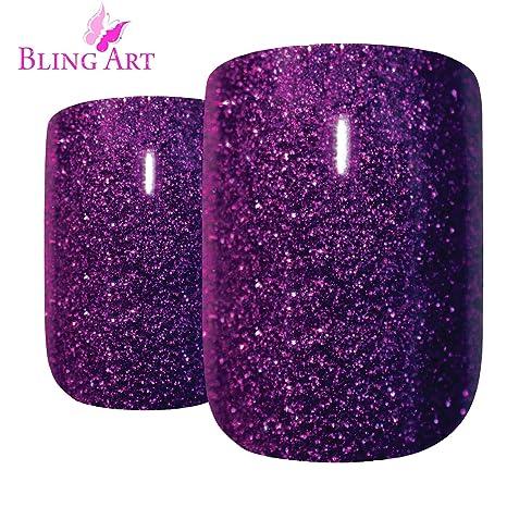 Uñas Postizas Bling Art Púrpura Gel 24 Squoval Medio Falsas puntas acrílicas con pegamento