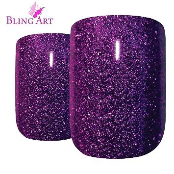 Uñas Postizas Bling Art Púrpura Gel 24 Squoval Medio Falsas puntas acrílicas con pegamento: Amazon.es: Belleza