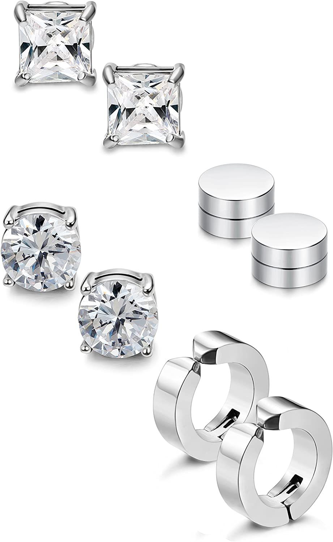 Daesar Stainless Steel Earrings Womens Stud Earrings White Cubic Zirconia Earring Square 4 Prongs Silver