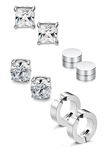 5e4498a2b4154 Jstyle 4 Pairs Stainless Steel Stud Earrings for Men Women Magnetic Stud  Earrings Non-piercing CZ