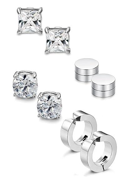 25fd37b44 Jstyle 4 Pairs Stainless Steel Stud Earrings for Men Women Magnetic Stud  Earrings Non-piercing
