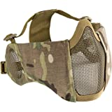 "OneTigris 6"" Foldable Half Face Airsoft Mesh Mask with Ear Protection, Military Tactical Lower Face Protective Mask"