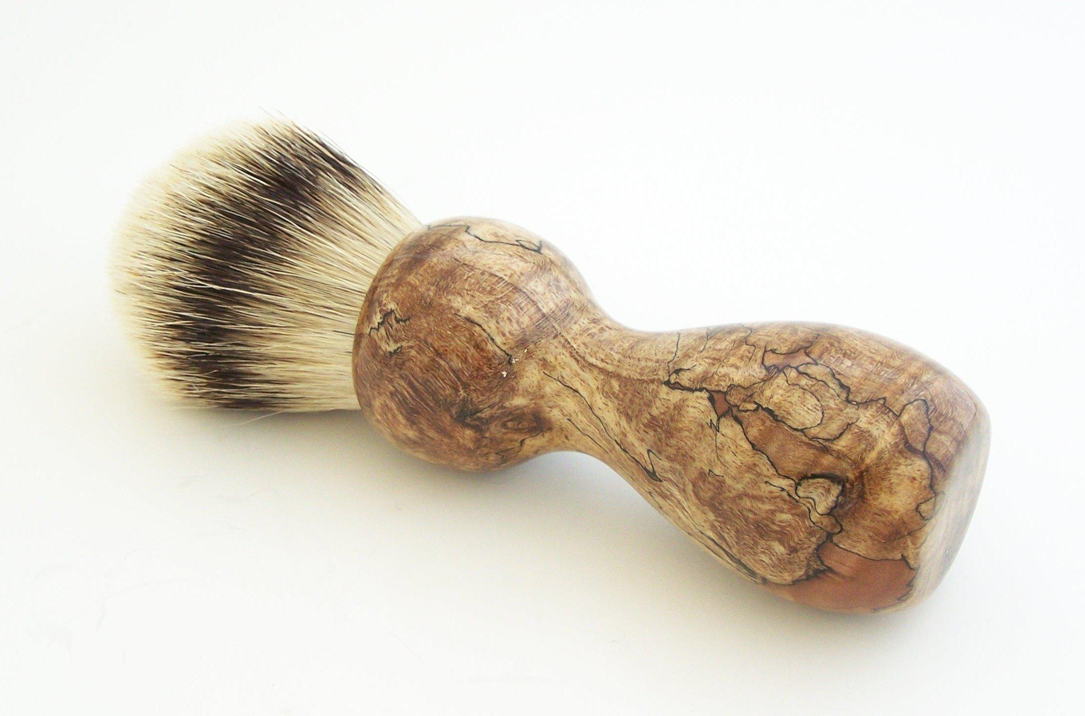 Stabilized Spalted Maple Burl Wood 24mm Super Silvertip Shaving Brush (M13)