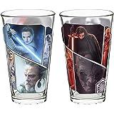Zak Designs Star Wars The Last Jedi Pint Glass Set - Featuring Rey, Kylo Ren and Luke Skywalker, 2 Piece Window Box, 16 Ounce, Multicolor
