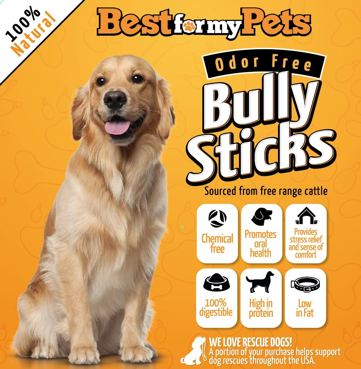 Bully Sticks Odor-Free – 6-Inch All-Natural Dog Treats Premium Beef Dog Chews, 8-Ounce Bag