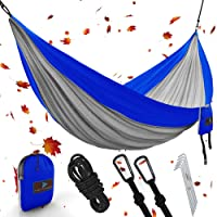 """Best XL Double Camping Hammock Waterproof Lightweight Parachute 240T Portable Hammock, 2 Heavy-Duty 1500 lbs Capacity Carabiners, with 2 Tree strap For Outdoor, Backpacking & Indoor 118""""L x 78""""W"""