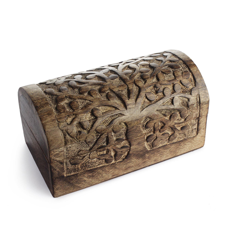 Wooden Trinket Box with Tree Of Life Motif Decorative Jewelry Trinket Holder Keepsake Storage Box Organizer 9 x 6 inches
