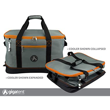 GigaTent Insulated Collapsible Cooler – Soft Lunch Box with Bottle Opener for Camping, Beach and Travel – Lightweight and Tear Resistant Fabric (Large - 18  W, 12  H, 12  D, Orange)