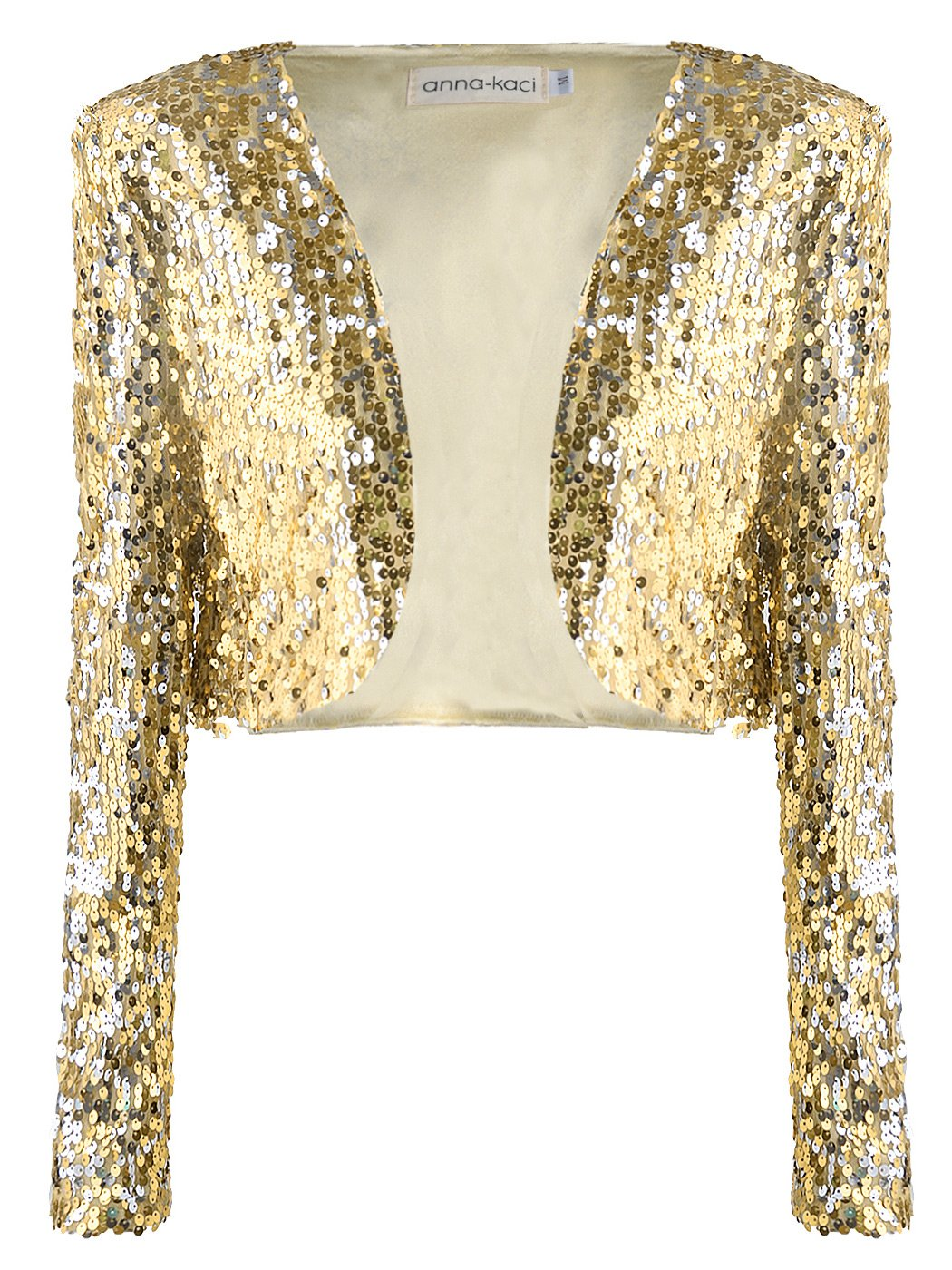 Anna-Kaci Womens Shiny Sequin Long Sleeve Glitter Cropped Blazer Bolero Shrug, Gold, Medium