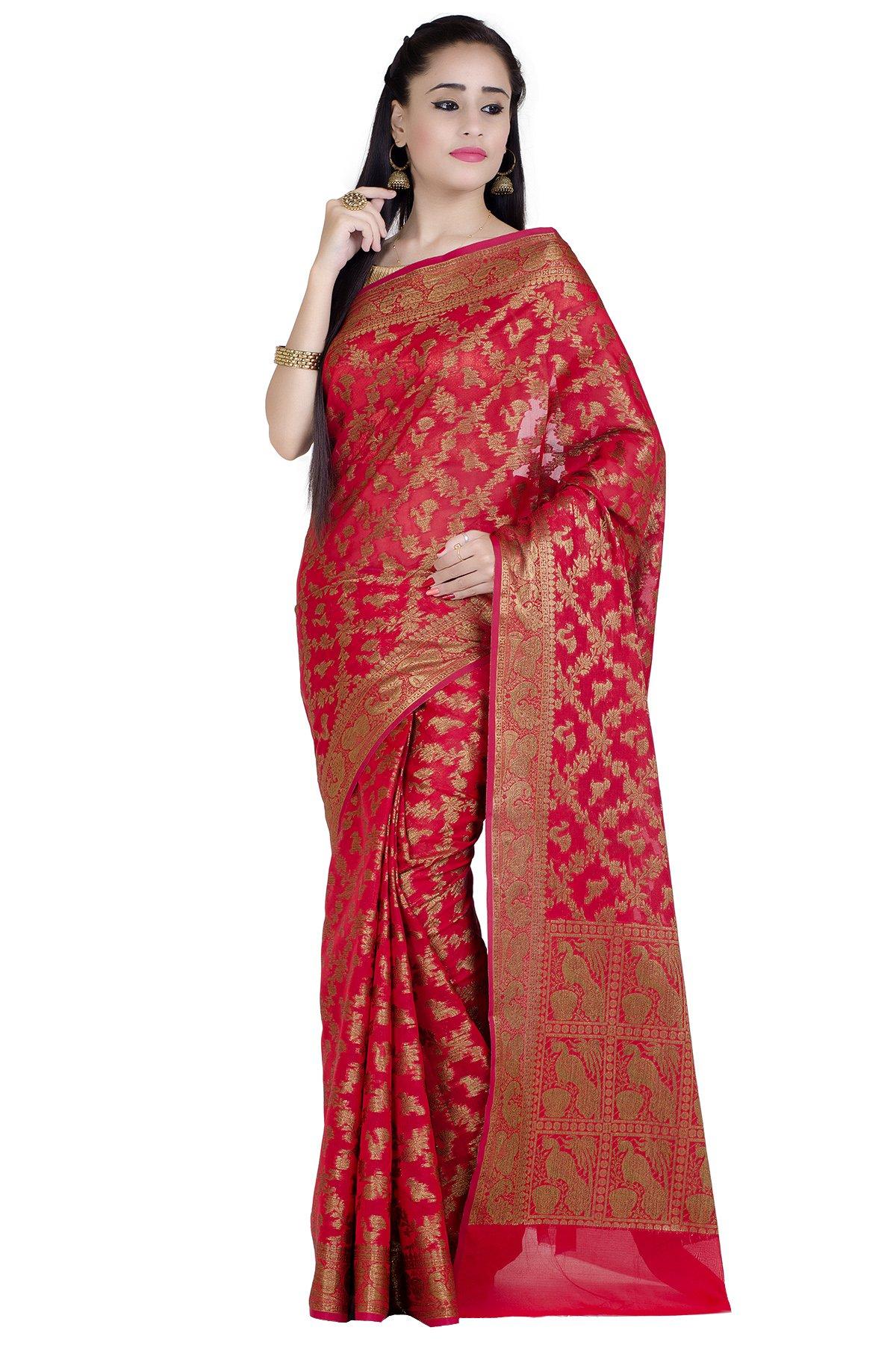 Chandrakala Women's Red Cotton Silk Banarasi Saree(1289RED)