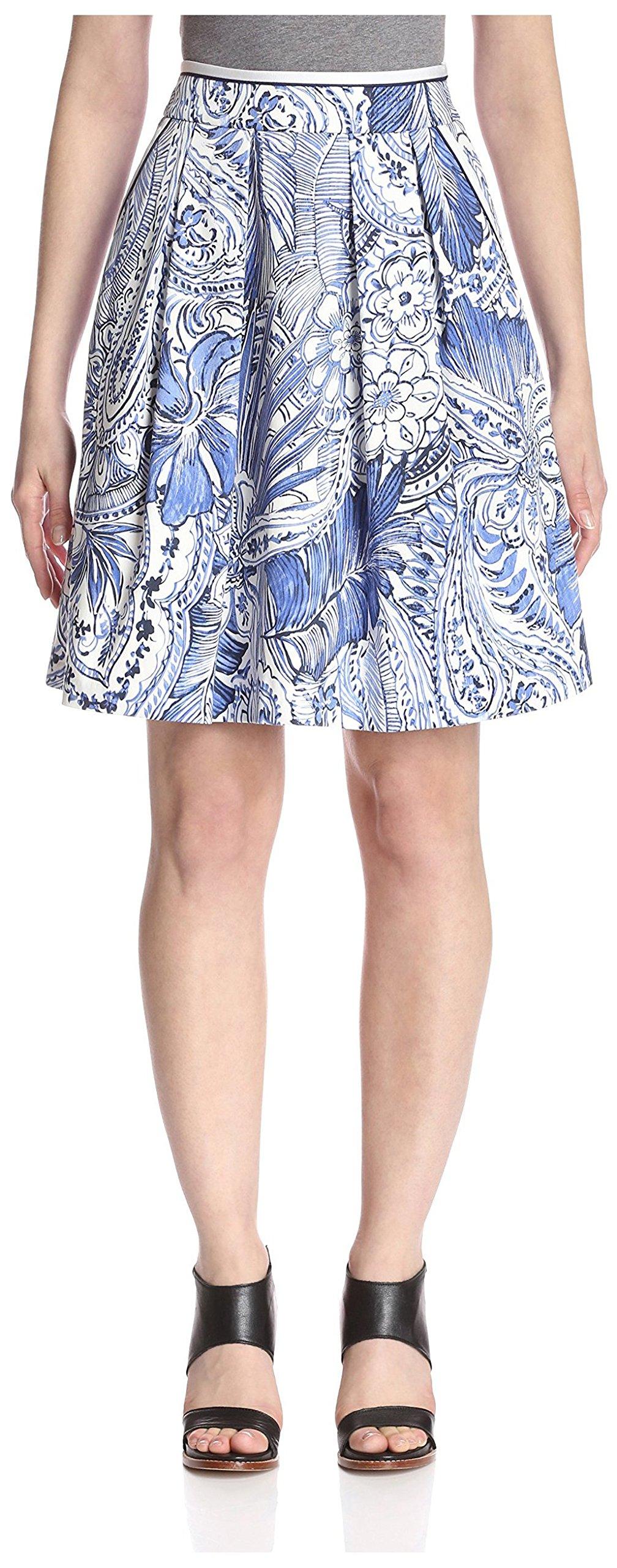 Sfizio Women's Printed Skirt, Blue/White, 8/46 US