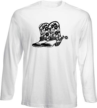 T-Shirt por los Hombre Manga Larga Blanca FUN0284 Cowboy Boots: Amazon.es: Ropa y accesorios