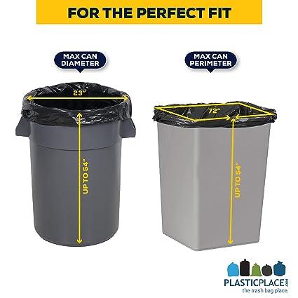 "bc1d185f02d Amazon.com  Plasticplace Contractor Trash Bags 55-60 Gallon │ 6.0 Mil │  Black Heavy Duty Garbage Bag │ 36"" x 58"" (20 Count)  Health   Personal Care"