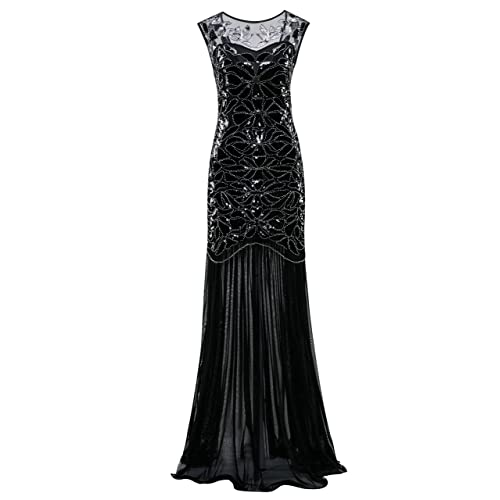 Metme Womens 1920s Beaded Sequin Classic Long Flapper Gatsby Prom Dress