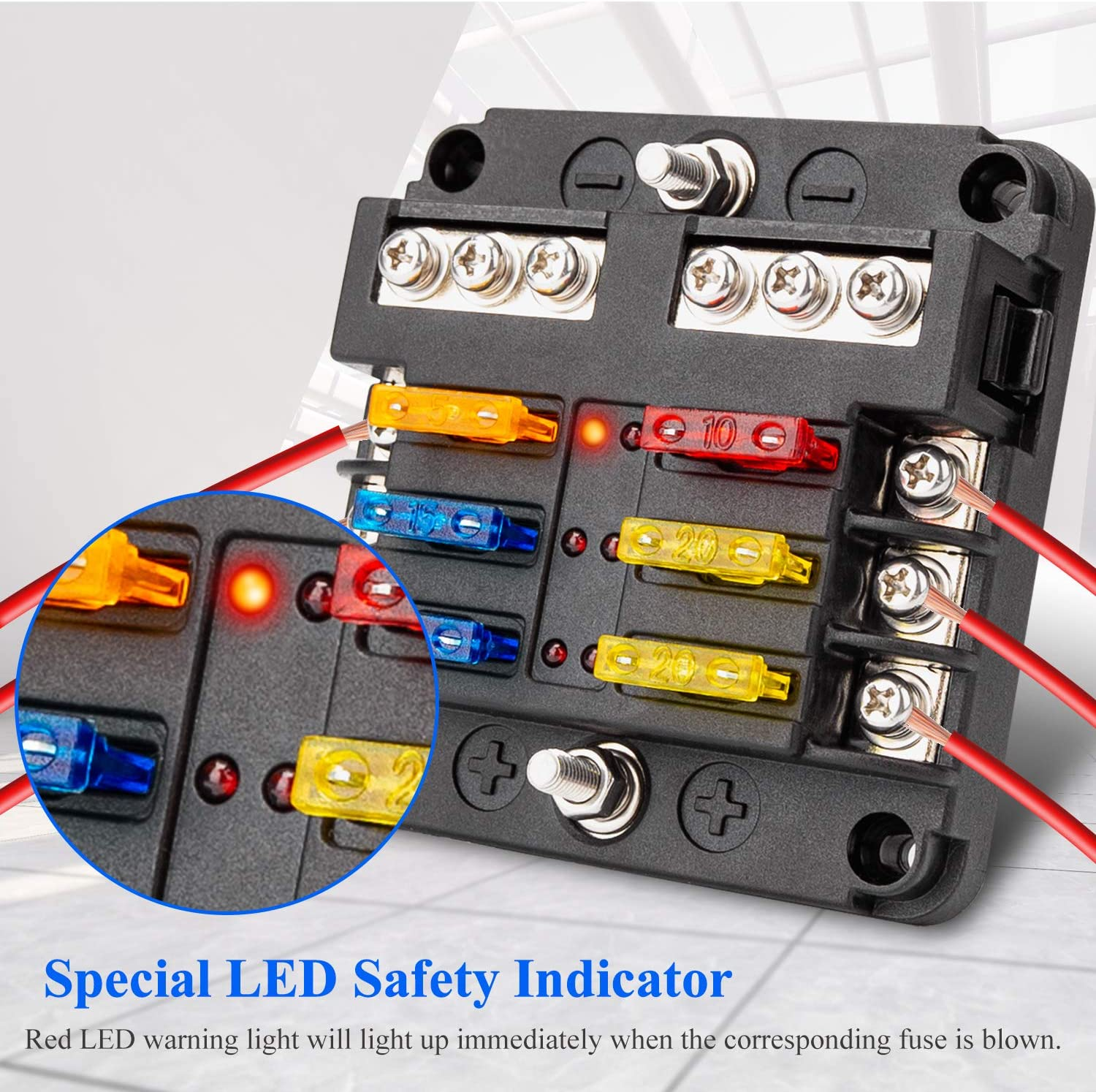 Extractme 12V 6-Way Blade Fuse Box Holder with 10Pcs Fuse Fuse Box Block with LED Indicator Durable Protection Cover and Sticker Label for Automotive Car Boat SUV BUS Subway and Yacht