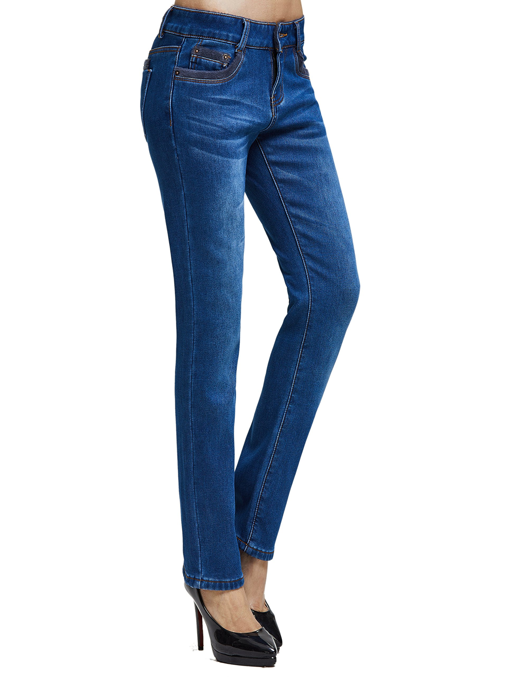 Camii Mia Women's Winter Slim Fit Thermal Jeans Pants (W28 x L30, Blue (New Size)) by Camii Mia (Image #3)