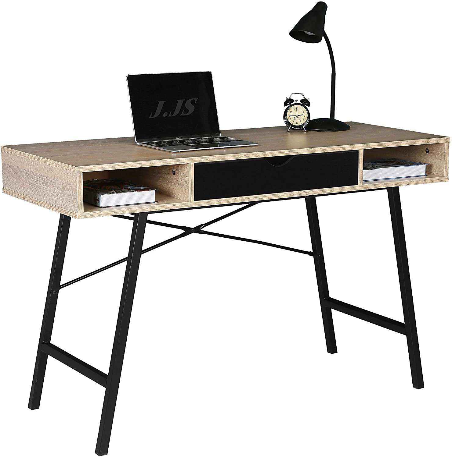JJS Home Office Writing Desk with Drawers, Modern Computer Study Wooden Desk Table Laptop PC Workstation with Storage, Mid Century Black
