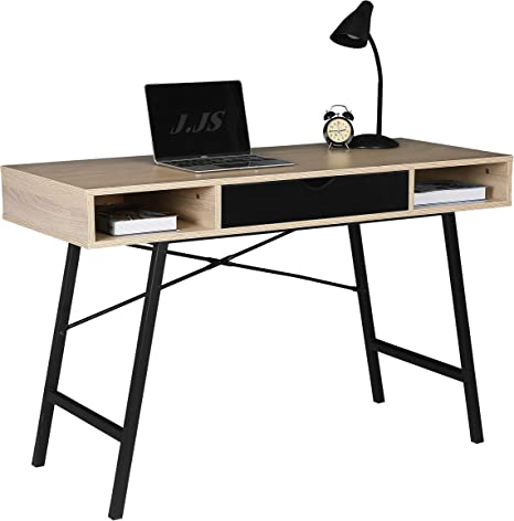 Jjs Home Office Writing Desk With Drawers Modern Computer Study Wooden Desk Table Laptop Pc Workstation With Storage Mid Century Black Amazon Ca Home Kitchen