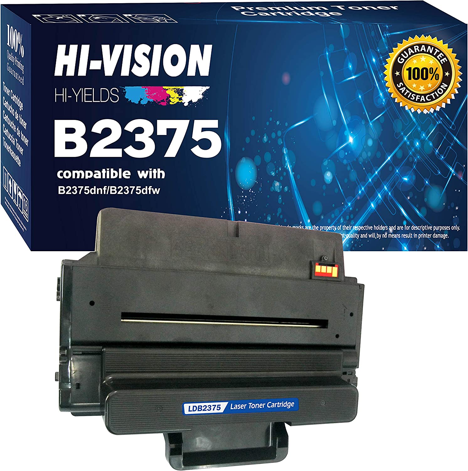 HI-VISION HI-YIELDS Compatible Dell B2375 593-BBBJ 8PTH4 (1 Pack) Black [10,000 Pages] Toner Cartridge Replacement for B2375dnf B2375dfw Multifunction Printers
