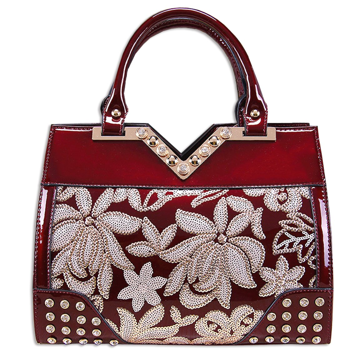 KAXIDY Flowers Handbags Patent Leather Embroidery Lace Handbag Shouder Bags (Wine-red)
