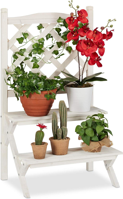 Flowers Stairs Trellis Plant Ladder Wood Lattice Flower Shelf 2 Tiers Wood White