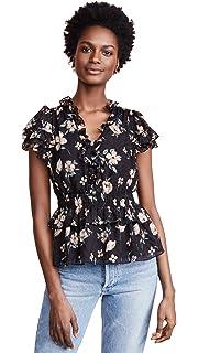 95ce01c70c20d Amazon.com  Rebecca Taylor Women s Long Sleeve Ruched Velvet Top ...