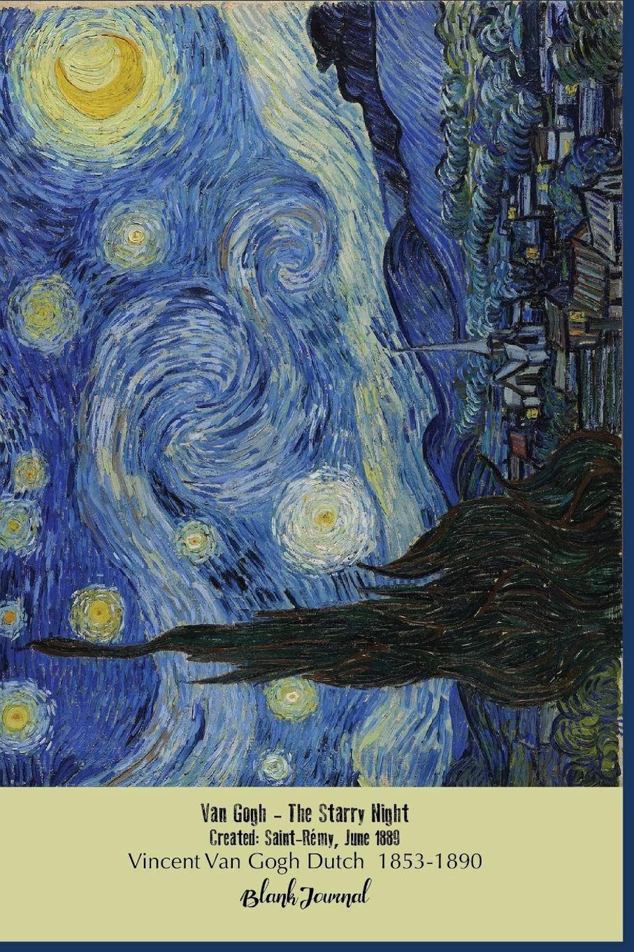 blank journal van gogh starry night blank unlined unruled 5 mm dot grid paperback notebook to write in for adults kids students teachers high vincent van gogh paintings volume 2