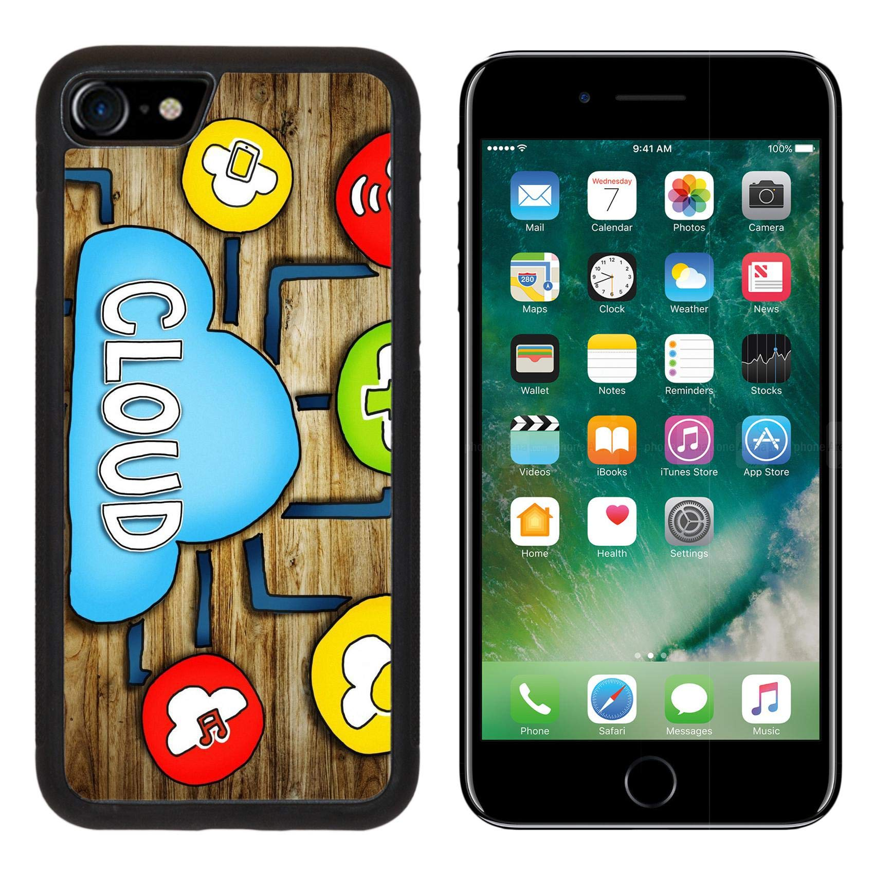 Luxlady iPhone 7 Case and iPhone 8 Case TPU Silicone Bumper Shockproof Anti-Scratch Resistant Hard Tempered Glass Cover IMAGE ID: 34402076 Aerial View of People and Cloud Computing Concepts by Luxlady