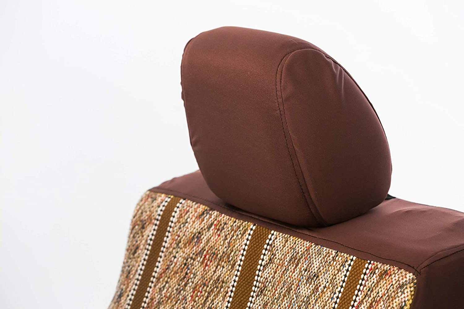 Saddleman S 029926-02 Brown Custom Made Rear Solid Bench with 3 Molded Headrests Seat Covers