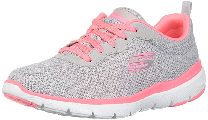 Skechers Flex Appeal 3.0 Sneakers Damen Grau/Rosa (Light Grey Hot Pink)