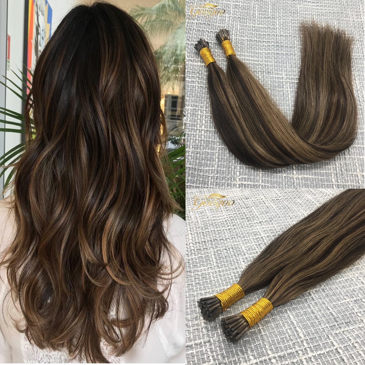 Amazon Googoo Highlighted Prebonded Hair Extensions Chocolate