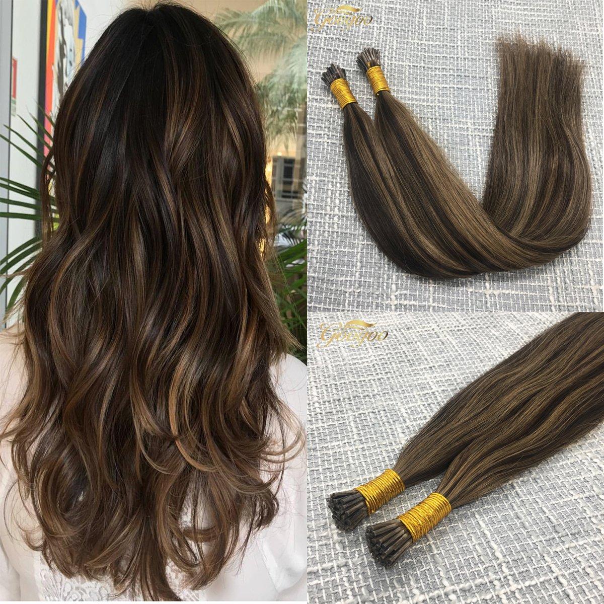 Amazon Googoo Salon Quality I Tip Medium Brown Hair Extensions